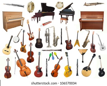 Different music instruments under the white background - Shutterstock ID 106570034
