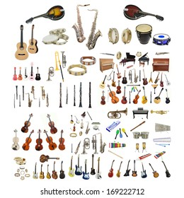 Different music instruments under the white background - Shutterstock ID 169222712