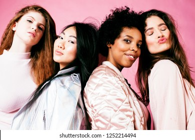 different nation girls with diversuty in skin, hair. Asian, scan