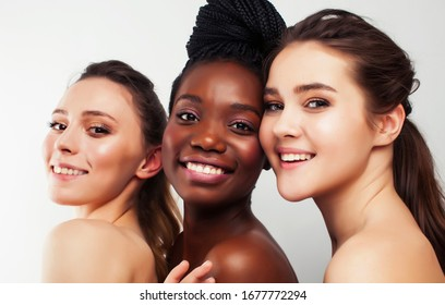 different nation woman: african-american, caucasian, asian together isolated on white background happy smiling, diverse type on skin, lifestyle people concept