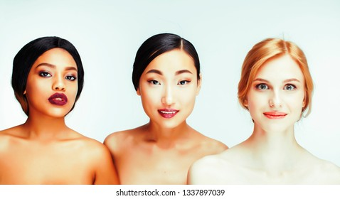 different nation woman: asian, african-american, caucasian together isolated on white background happy smiling, diverse type on skin, lifestyle people concept close up