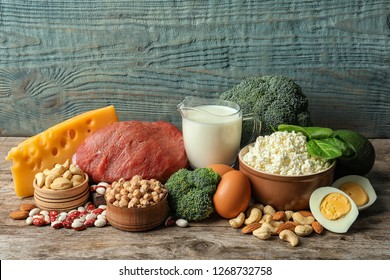 Different natural food on table. High protein diet