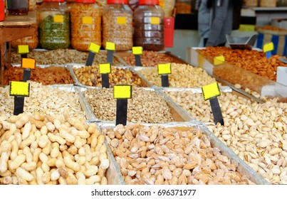 Different nuts at market