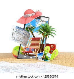 different objects on a summer theme look out from the phone screen is inserted in the sand on the beach on white 3d render