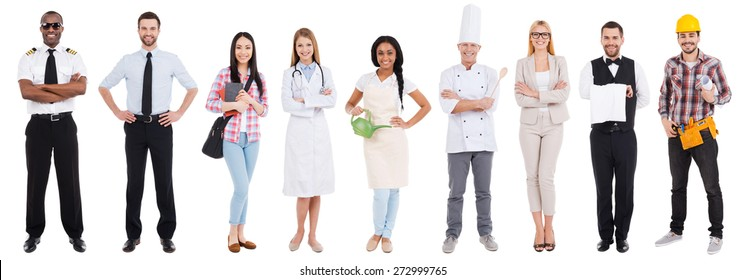 Different occupations. Collage of people in different occupations standing against white background