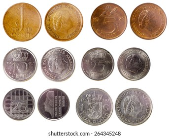 different old coins of netherlands isolated on white background
