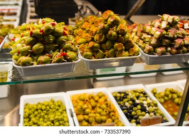 Different olives in market in Spain