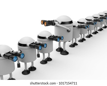 Different from other. Robot looks in binocular. 3d illustration