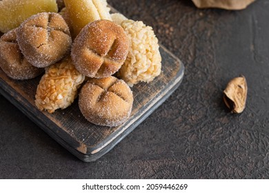 Different Panellets, traditional sweets consumed at All Saints Day or Dia Todos Los Santos in Catalonia, Spain.