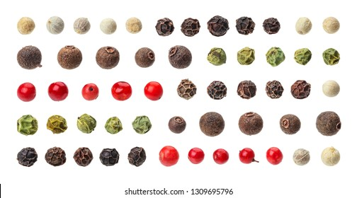 Different peppercorns. Black, red, white and allspice peppercorns isolated on white background, collection
