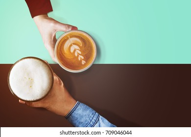 Different Personalities Taste in Beverage of People Concept, Difference Diverse Character of Human Concept, Present by Hand of Male and Female holding Coffee cup and Glass of Beer, Top view