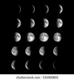 Different phases of Moon. Elements of this image furnished by NASA.