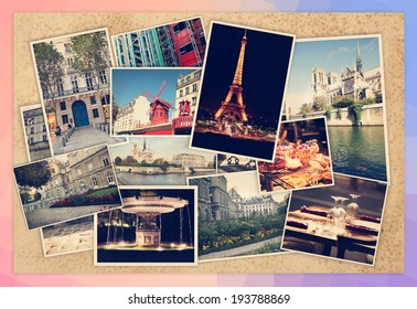 different photos of Paris, Travel Collage on a wooden background, retro postcard
