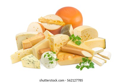 Different pieces of hard cheese, semi-soft cheese and soft cheese various types and twigs of parsley on a light background