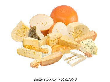 Different pieces of a hard cheese, semi-soft cheese and soft cheese various types on a light background