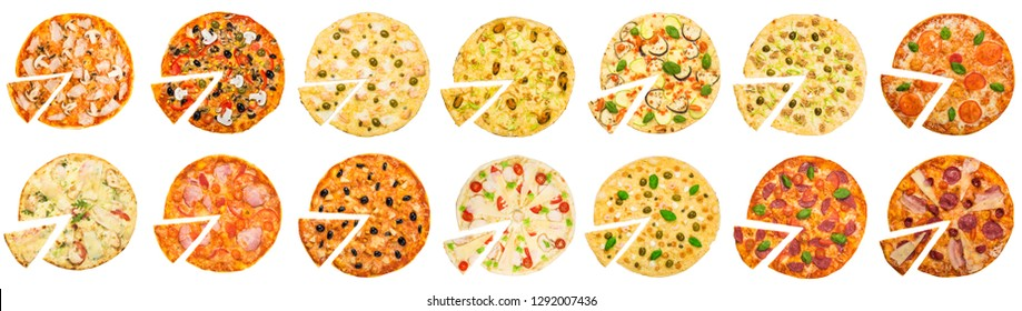 Different pizzas set on white background, top view, panorama