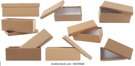 different point of view of blank brown box with lid on white background