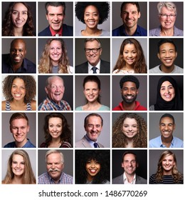Different portraits of people in front of a grey background