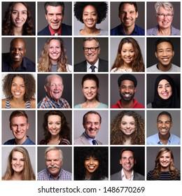 Verschiedene Porträts von Menschen vor grauem Hintergrund