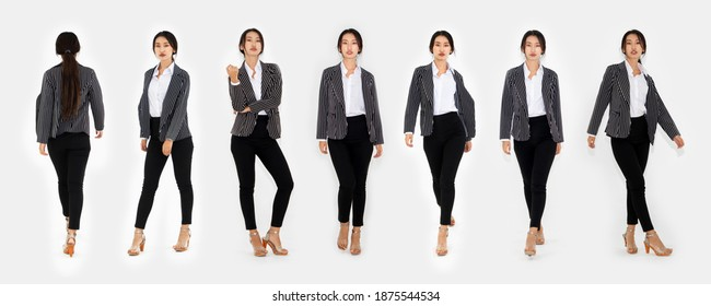 Different pose of same Asian woman full body portrait set on white background wearing formal business suit in studio collection .