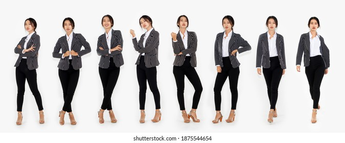 Different pose of same Asian woman full body portrait set on white background wearing formal business suit in studio collection . - Shutterstock ID 1875544654