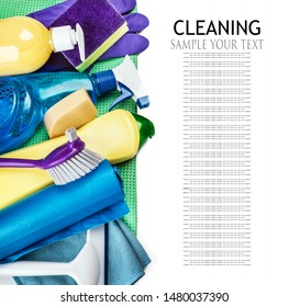 different products and cleaning items isolated on white background. Text delete