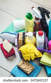 different products and items for cleaning on the floor in the toilet room. Concept cleaning