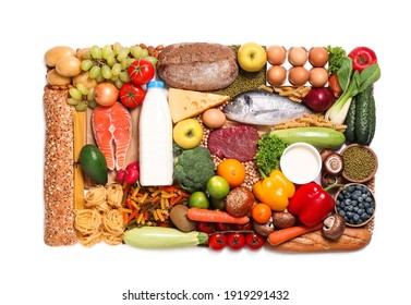 Different products on white background, top view. Healthy food and balanced diet
