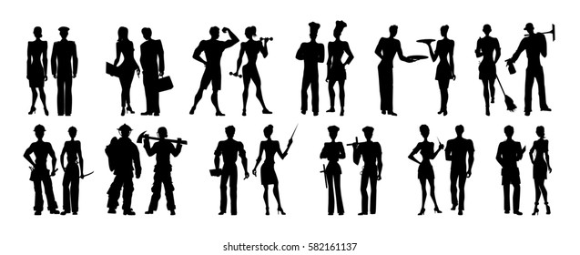 Different professions set. Isolated black silhouettes on white background. All kinds of professional activities as teacher, doctor, firefighter and more.