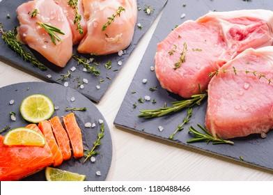 Different protein sources - pork, piece of trout, chicken breast