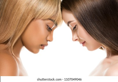 Different races woman beauty portrait isolated on white african girl and caucasian female
