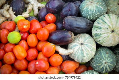 Different raw vegetables background colorful overhead large various  in vegetable market .Healthy eating.Shallow depth of field.