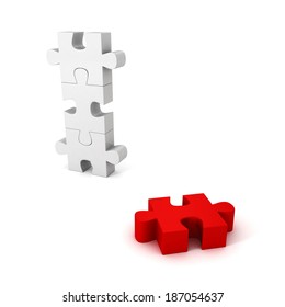 different red jigsaw puzzle piece out from white group. unique concept 3d render illustration