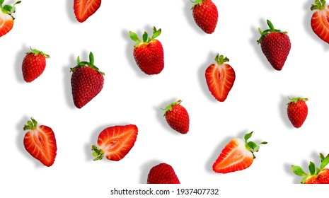Different ripe red strawberries and strawberry slices isolated on white background. Banner.