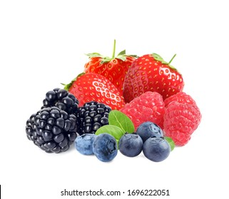 Different ripe tasty berries on white background
