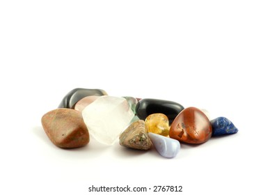 Different rock crystals isolated on white background