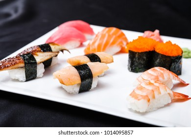 Different rolls set served on a plate