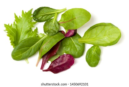 Different salad leaves handful isolated on white background. Top view, flat lay.