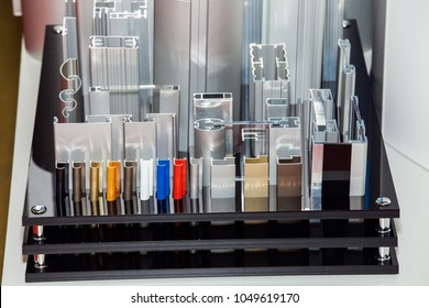 Different samples of metal anodized aluminum profile
