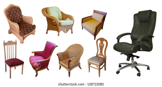Different set of chairs. Isolated over white background with clipping path