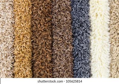 different shaggy carpet samples, a closeup shot