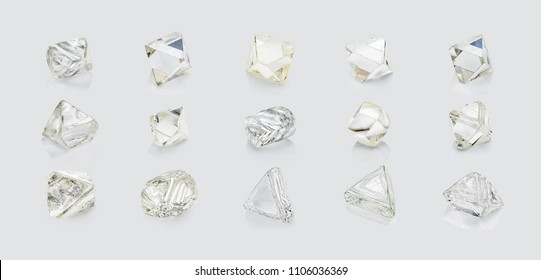 Different shapes diamonds isolated on white background.
