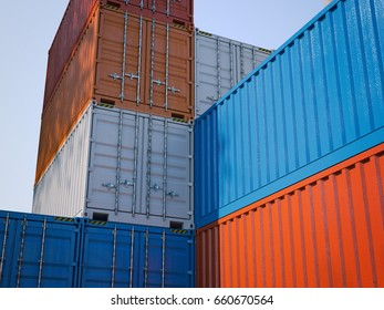 Different shipping containers. Sunny day. 3d rendering