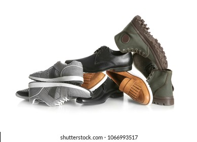 Different shoes on white background