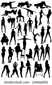Different silhouettes of the women on the white background