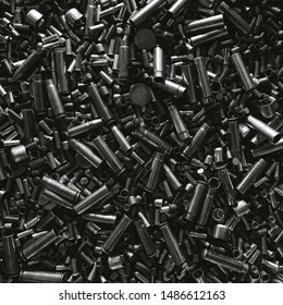 Different size bullet shells on the black ground. War concept. production of ammunition at the factory. brass bullet shell, ammunition manufacturing process