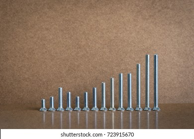 different in size of screws arrange do not in the rank but its position together looks like the graph, brown background