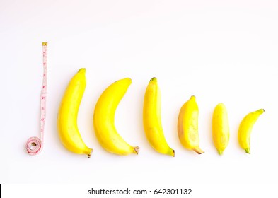 Different size and shape of Banana compare, A penis Size compare concept