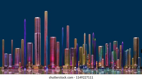 Different and sizes and colored screws on blue background,cityscape panorama imagination