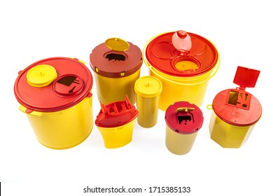 Different sizes of Medical waste bins (1.3, 2, 3, 5 liter). Yellow biohazard medical waste container medical disposal bins sharp disposal safe containers on white background.
